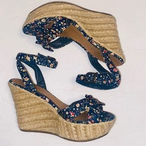 MIA Floral and bow ankle strap wedges